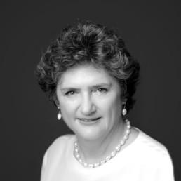 Black and white portrait of Carmel Dollisson