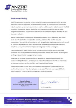 Signed document POL001 Environment Policy