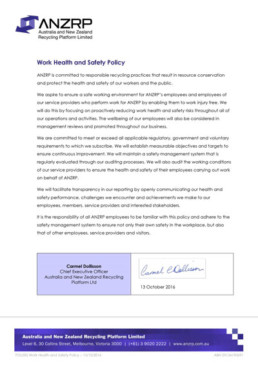 Signed document POL002 Health and Safety Policy