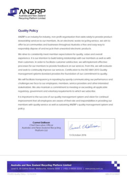 Signed document POL003 Quality Policy