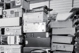 Computers stacked together for recycling