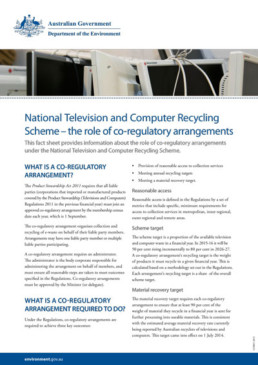 factsheet national television and computer recycling scheme coregulatory arrangements document